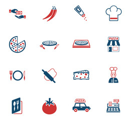 pizzeria icon set