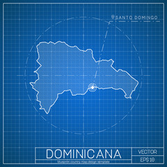 Dominicana blueprint map template with capital city. Santo Domingo marked on blueprint Dominican map. Vector illustration.