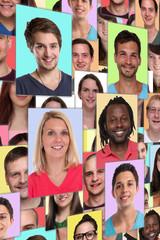 Portrait Sammlung soziale Medien Menschen junge Leute hochkant Gruppe