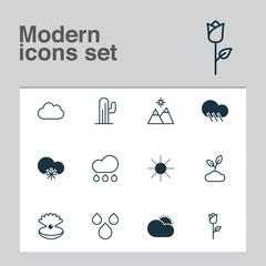 Nature Icons Set. Collection Of Cold Climate, Seashell, Cloud And Other Elements. Also Includes Symbols Such As Cold, Plant, Sunny.