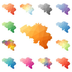 Belgium geometric polygonal, mosaic style maps collection. Bright abstract tessellation, low poly style, modern design. Belgium polygonal maps for your infographics or presentation.