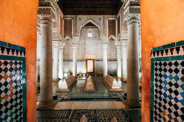 ornamental tiles at moroccan saadian tombs