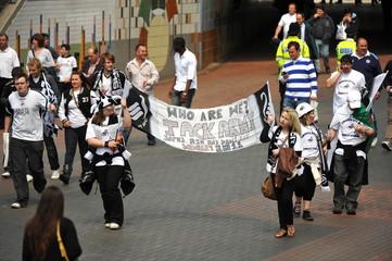 Swansea City fans outside Wembley stadium