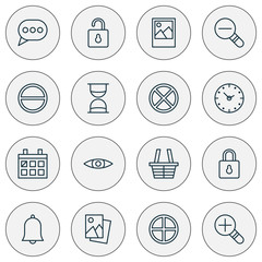 Web Icons Set. Collection Of Increase Loup, Unlock, Alert And Other Elements. Also Includes Symbols Such As Out, Watch, Hourglass.