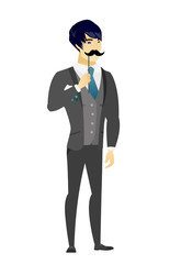 Cheerful groom with a fake mustache.