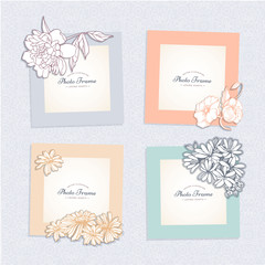 Photo frame with flower. Album template for kid,baby, girl, family or memories. Scrapbook concept, vector illustration.