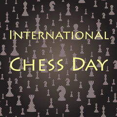 Chess seamless background. International chess day card. July 20.