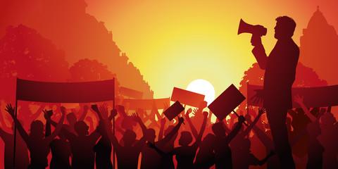 manifestation - grève - conflit social - porte-voix -mégaphone - lutte - travail