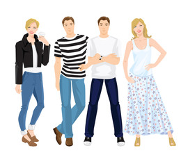 Vector illustration of people character in different clothes and pose isolated on white background.