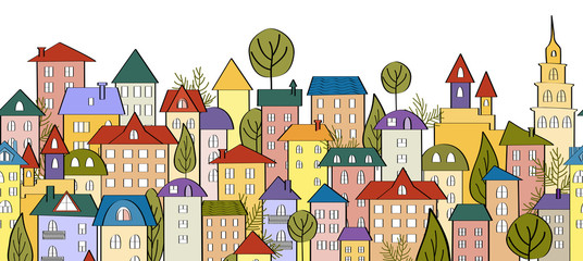 Seamless banner background with rows of colorful cartoon houses
