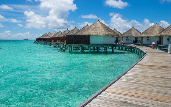 The beautiful sea-bungalows on the atoll of Maldives island