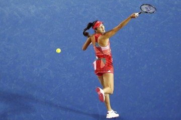 Serbia's Ivanovic stretches for a shot during her second round match against Latvia's Sevastova at the Australian Open tennis tournament at Melbourne Park
