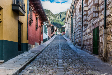 Zelfklevend Fotobehang Zuid-Amerika land colorful Streets in La Candelaria aera Bogota capital city of Colombia South America