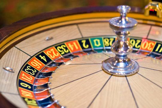 Roulette wheel in motion, Las Vegas, Nevada, USA