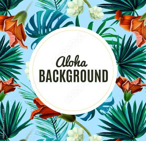 Aloha Background With Tropical Flowers Summer Colorful Hawaiian Vector Stock