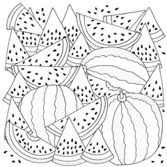 Pattern for coloring with Watermelon. Black and white vector illustration. Slice of watermelon. Doodle style.