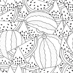 Seamless Pattern for coloring with Watermelon. Black and white vector illustration. Slice of watermelon. Doodle style.