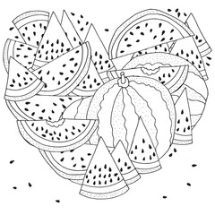 Heart shaped Pattern for coloring with Watermelon. Black and white vector illustration. Slice of watermelon. Doodle style.