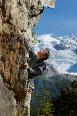 Man rock climbing, Chamonix, Haute Savoie, France