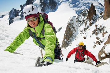 Two people mountain climbing, Chamonix, France