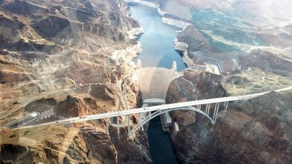 Aerial View Of Bridge And Hoover Dam Over Colorado River