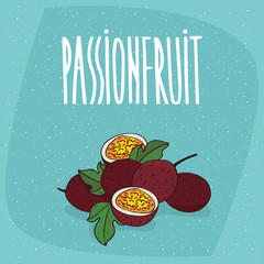 Group of several ripe passion fruits with small leaves, whole and beautifully cut into pieces. Isolated background. Realistic hand draw style. Lettering Passionfruit