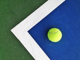 Directly Above Shot Of Tennis Ball On Court