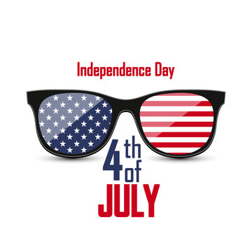 Realistic hipster glasses in a black frame with stars and stripes. National flag of the USA. Poster in honor of Independence Day celebrations in the United States of America. 4th of July.