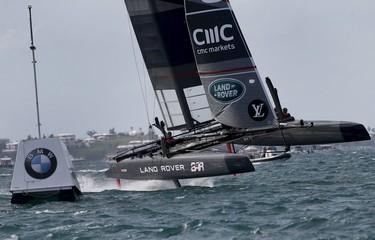 AC45F racing sailboat Land Rover BAR sails to the leeward mark during race 3 of the America's Cup World Series sailing competition on the Great Sound in Hamilton