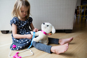 Young girl sitting on floor, playing with toy dog, pretending to be a vet