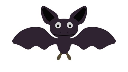 Isolated cartoon bat on white background