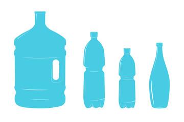 Set of isolated water bottle icon on white background