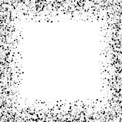 Dense black dots. Chaotic border with dense black dots on white background. Vector illustration.