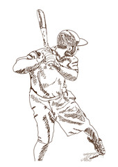 Sketch of Baseball player playing game in vector illustration.