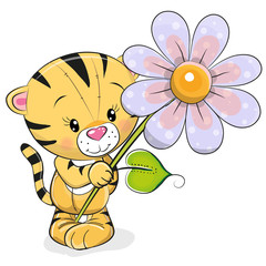 Greeting card Tiger with flower