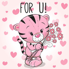 Valentine card Cute Cartoon Tiger with flowers