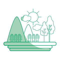 silhouette mountains with grid wood and trees