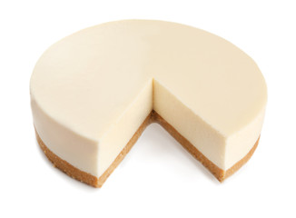 Fototapete - Delicious sliced cheesecake on white background