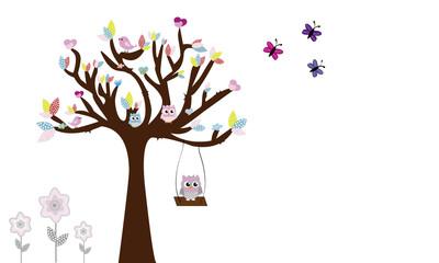 Árbol con búhos y columpio 6.