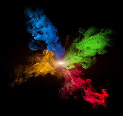 multicolor smoke on black background