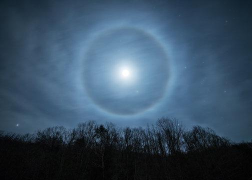 night sky and moon bow
