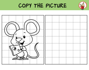 Funny little mouse with cheese. Copy the picture. Coloring book. Educational game for children. Cartoon vector illustration