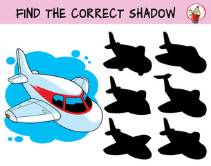 Small airplane. Find the correct shadow. Educational game for children. Cartoon vector illustration