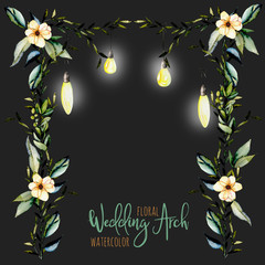 Watercolor floral wedding arch with hanging lamps for bridal design, wedding and invitation cards, hand painted isolated on a dark background