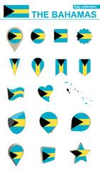The Bahamas Flag Collection. Big set for design.