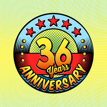 36th anniversary logo. Vector and illustrations. Comics anniversary logo.