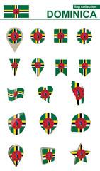 Dominica Flag Collection. Big set for design.