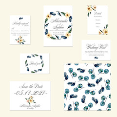Template cards set with watercolor pink flowers and eucalyptus branches; wedding design for invitation, Save the date card, RSVP, Thank you card, Wishing Well card,  for anniversary day