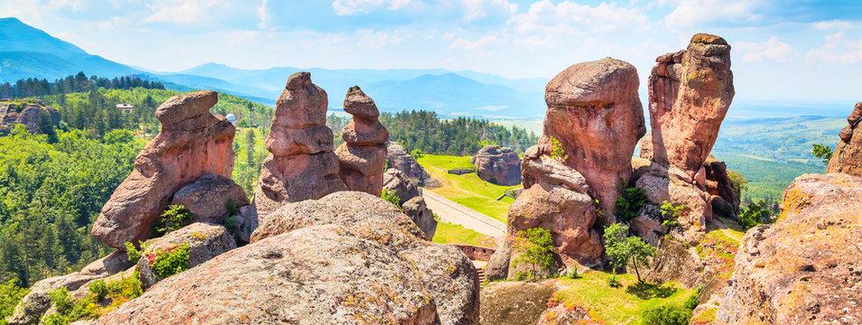 Banner nature gem background with Belogradchik cliff rocks near ancient Kaleto, Bulgaria
