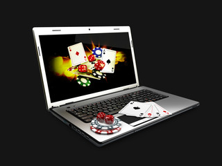 Online gambling concept with laptop, 3d Illustration